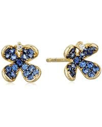 Tai - Blue Pave Flower Post Earrings - Lyst