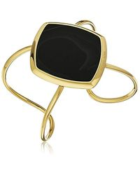 Michael Kors - Cool & Classic Gold-tone And Black Agate Cuff Bracelet - Lyst