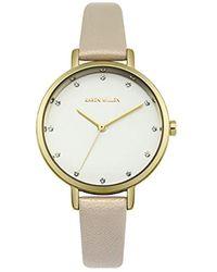 Karen Millen - Quartz Metal And Leather Casual Watch, Color:beige (model: Km157c) - Lyst