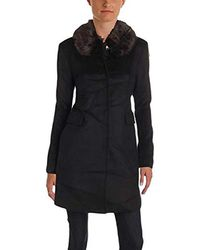 Eliza J - Wool Coat With Removable Faux Fur Collar - Lyst