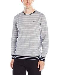 d2d0340bbb8e6e Lacoste - Long-sleeve Chine-stripe Crew-neck Sweater - Lyst