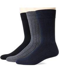 Ecco - 3-pack Solid Rib Cushion Sock - Lyst