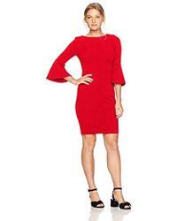 Calvin Klein - Petite 3/4 Peplum Sleeve Sheath Dress - Lyst