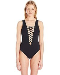 Guess - Lace-up One Piece Swimsuit - Lyst
