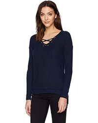 60204542e89 Michael Stars - Madison Brushed Jersey Long Sleeve V Neck Lace Up Top - Lyst
