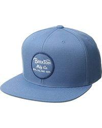 77ed7cdc71f Brixton - Wheeler Medium Profile Adjustable Snapback Hat - Lyst