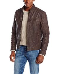 Cole Haan - Waxed-leather Moto Jacket - Lyst