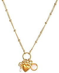 """Dogeared - Heart Full Of Happiness, Puffy Heart And Rose Quartz Bezel Cluster Chain Necklace, 16""""+2"""" Extender - Lyst"""