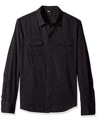 PAIGE - Everett Brushed Cotton Button Down Shirt - Lyst