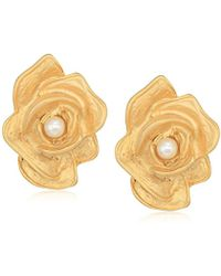 Kenneth Jay Lane - Satin Gold Rose Clip-on Earrings - Lyst