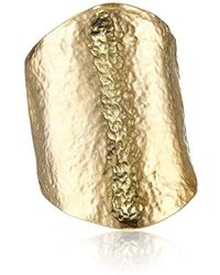 Kenneth Jay Lane - Satin Gold Hammered Cuff Bracelet - Lyst
