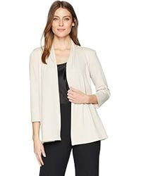 Kasper - Ribbed Knit 3/4 Sleeve Cardigan With Back Waist Detail - Lyst