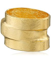 """Kenneth Jay Lane - Hammered Polished Gold-plated Three-tiered Hinged Cuff Bracelet, 3"""" - Lyst"""