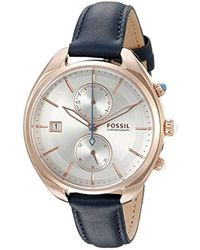 Fossil - Ch2997 Land Racer Chronograph Blue Leather Watch - Lyst