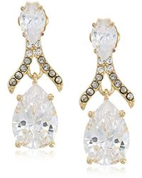 Judith Jack - 10k Gold Plated Sterling Silver And Swarovski Marcasite Post Drop Earrings - Lyst