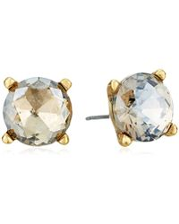 Badgley Mischka - Round Champagne Stone Stud Earrings - Lyst