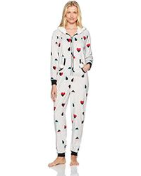 a2c963314b89 Mae - Sleepwear Microfleece Hooded Onesie Pajamas With Poms - Lyst