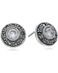 Judith Jack - Sterling Silver Cubic Zirconia With Marcasite Pave Stud Earrings - Lyst