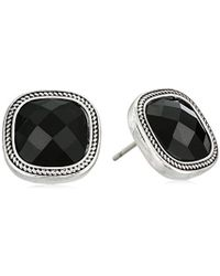 Napier - Jet And Silver-tone Stud Earrings - Lyst