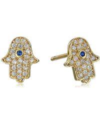 Tai - Mini Crystal Hamsa Post Stud Earrings - Lyst