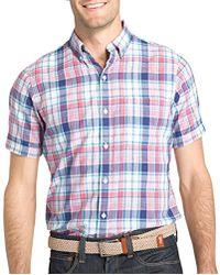 Izod - Dockside Chambray Plaid Short Sleeve Shirt (regular And Slim Fit) - Lyst