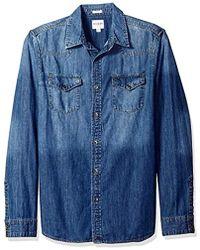 Guess - Western Slim Denim Shirt In Medium Blue Wash - Lyst