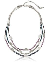 """Kenneth Cole - Stone Central Pave Mixed Faceted Bead Multi Row Necklace, 16"""" + 3"""" Extender - Lyst"""