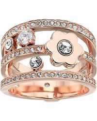 Michael Kors - S In Full Bloom Floral Crystal Accent Stacked Ring - Lyst