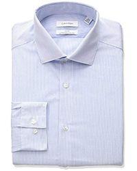 Calvin Klein - Non Iron Slim Fit Stretch Stripe Spread Collar Dress Shirt - Lyst