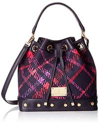 Juicy Couture - Black Label Plaid Bucket Bag With Long Strap And A Drawstring Closure With Studded Grommets On The Bottom - Lyst