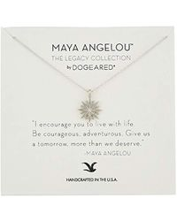 """Dogeared - Maya Angelou 2.0""""i Encourage You To Live With Life. Cutout Starburst Pendant Necklace - Lyst"""