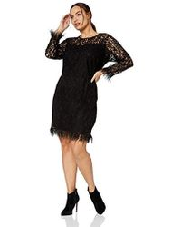 Calvin Klein Plus Size Long Sleeve Sheath With Feather Trim