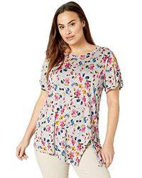 RACHEL Rachel Roy - Plus Size Distsy Floral Slit Sleeve Top - Lyst