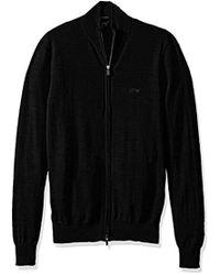 Armani Jeans - Full Zip Mock Neck T-shirt, Black, Large - Lyst