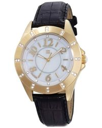 2a6d5b283d06 Tommy Hilfiger - 1781028 Glod Plated Stainless Steel Case And Black Croco  Embossed Strap With Crystal