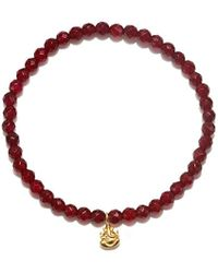 Satya Jewelry - S Carnelian Gold Ganesha Stretch Bracelet, Orange, One Size - Lyst