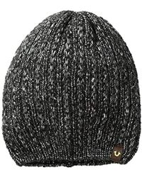 True Religion - Metallic Knit Beanie - Lyst