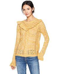 Kensie Ruffle Pullover Sweater - Yellow