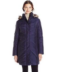 Anne Klein - Chevron Down Coat With Detachable Faux-fur Trim Hood - Lyst