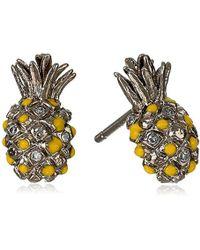 Tai - Gold Pineapple Post Stud Earrings - Lyst