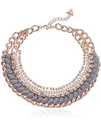 Guess - Love Struck Necklace W Stones, Rose Gold, One Size - Lyst
