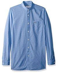 Lacoste - Long Sleeve Chambray Mandarin Collar Slim Woven Shirt, Ch4972 - Lyst