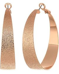 BCBGeneration - Bcbg Generation Rose Gold Textured Hoop Earrings, One Size - Lyst