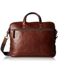 Fossil - Haskell Double Zip Leather Brief Workbag - Lyst