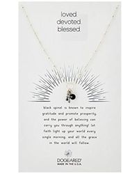 "Dogeared - Loved. Devoted. Blessed, Cross And Black Spinel Bezel Cluster Chain Necklace, 16""+2"" Extender - Lyst"