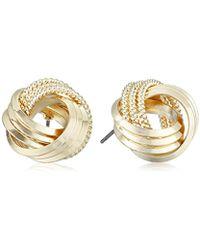 "T Tahari - ""essentials"" Love Knot Stud Earrings - Lyst"