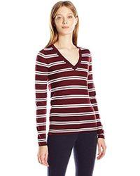 Lacoste - Long Sleeve Striped Wool Jersey Vneck Sweater - Lyst