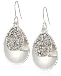 Kenneth Cole - Power Of The Flower Silver And Crystal Pave Stone Earrings - Lyst
