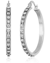 T Tahari - Essentials Hoop Earrings With Crystal Stones, Silver, One Size - Lyst