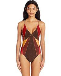 2e8f0877da Nanette Lepore - Serengeti Faux Suede Goddess One Piece Swimsuit - Lyst